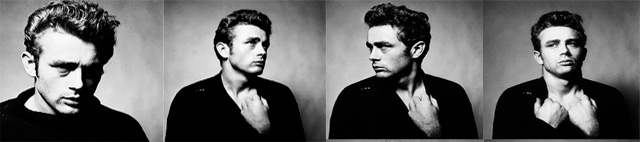 The series of images shows the  vunerable James Dean