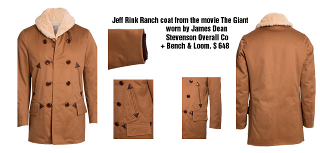 Jacket and details from the vintage replica jacket that James Dean wore as Jeff in the movie The Giant