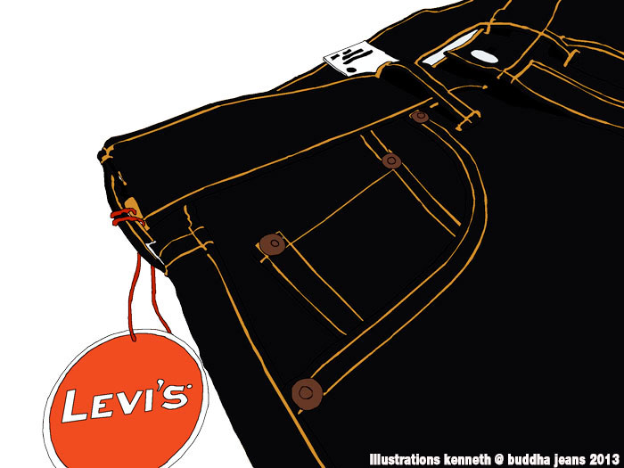 Front of the Levi 501 with the watch pocket who later in the 60's became known as the drug pocket