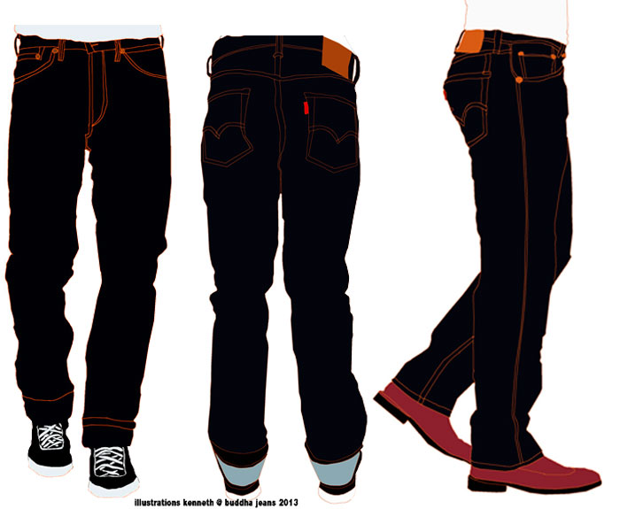The 501 fit seen from the front, back and side all illustrations by kenneth @ buddha jeans